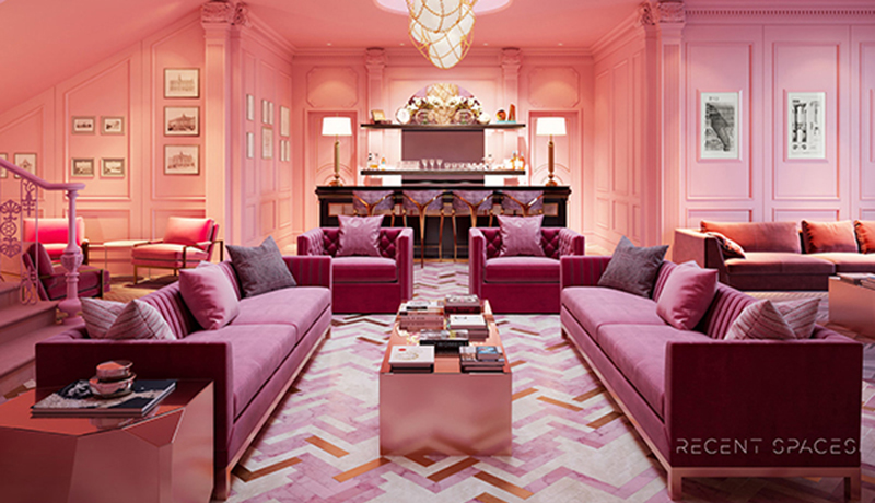 3d render of a pink room done by resent spaces for our ignite 3ds max plugin